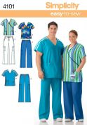 Simplicity Ladies & Men's Easy Sewing Pattern 4101 Uniforms Scrub Tops & Pants