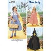 Simplicity Girls Sewing Pattern 4139 The Wizard of Oz Costumes