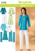 Simplicity Ladies Easy Sewing Pattern 4149 Skirt, Pants, Tunic Tops & Scarf