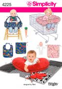 Simplicity Baby Sewing Pattern 4225 Pillow Cover, Quilt, Bunny, Seat Covers, Doll & Bib