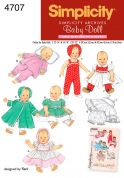 Simplicity Crafts Sewing Pattern 4707 Doll Clothes in 3 Sizes