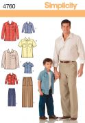 Simplicity Mens & Boys Sewing Pattern 4760 Shirts & Trouser Pants