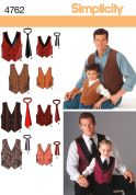 Simplicity Mens & Boys Sewing Pattern 4762 Waistcoats & Ties
