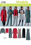 Simplicity Ladies Sewing Pattern 4789 Pants, Waistcoat, Jacket, Coat & Dresses