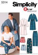 Simplicity Ladies & Mens Easy Sewing Pattern 5314 Pyjama Pants, Shorts & Dressing Gowns