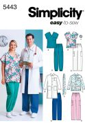Simplicity Ladies & Men's Easy Sewing Pattern 5443 Uniform Top, Jackets, Pants, Tie & Hairband