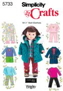 "Simplicity Crafts Sewing Pattern 5733 18.5"" Doll Clothes Casual Wardrobe"