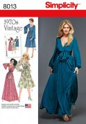 Simplicity Ladies Sewing Pattern 8013 1970s Vintage Style Faux Wrap Dresses