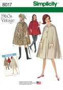 Simplicity Ladies Sewing Pattern 8017 1960's Vintage Style Cape Coat
