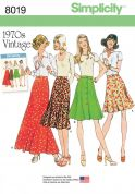 Simplicity Ladies Sewing Pattern 8019 1970s Vintage Style Front Gored Buttoned Skirts