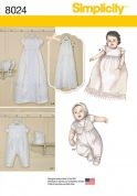 Simplicity Baby Sewing Pattern 8024 Christening Gown & One Piece Suit