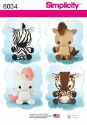 Simplicity Crafts Sewing Pattern 8034 Giraffe, Zebra, Unicorn & Pony Stuffed Animal Toys
