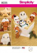 Simplicity Crafts Sewing Pattern 8035 Christmas Stuffed Animals & Toys
