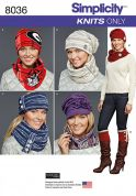 Simplicity Ladies Easy Sewing Pattern 8036 Jersey Knit Hats, Scarves, Cowls & Boot Covers