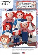 Simplicity Crafts Sewing Pattern 8043 Raggedy Ann & Andy Doll Toys