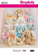 Simplicity Crafts Sewing Pattern 8044 Bear, Dog & Rabbit Stuffed Animal Toys