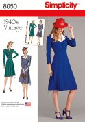 Simplicity Ladies Sewing Pattern 8050 1940s Vintage Style Dresses