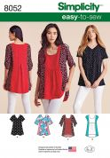 Simplicity Ladies Easy Sewing Pattern 8052 Loose Tunic Tops