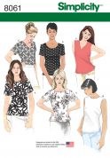 Simplicity Ladies Easy Sewing Pattern 8061 Simple Tops in 6 Styles