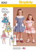 Simplicity Girls Sewing Pattern 8062 1950s Vintage Style Dresses