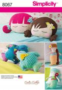 Simplicity Crafts Easy Sewing Pattern 8067 Stuffed Doll Face Pillows, Mermaids & Birds