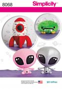 Simplicity Crafts Easy Sewing Pattern 8068 Stuffed Alien, Space Monster & Rocket Ship Toys