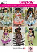 Simplicity Crafts Easy Sewing Pattern 8070 Doll Clothes for 18inch Doll