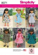 Simplicity Crafts Easy Sewing Pattern 8071 Vintage Style Doll Clothes for 18inch Doll