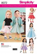 Simplicity Crafts Easy Sewing Pattern 8072 Retro Style Doll Clothes for 18inch Doll