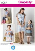 Simplicity Ladies & Girls Sewing Pattern 8087 Patchwork Tops & Dresses