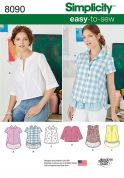 Simplicity Ladies Easy Sewing Pattern 8090 Shirt & Pullover Tops