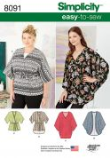 Simplicity Ladies Easy Sewing Pattern 8091 Kimonos Tops