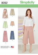Simplicity Ladies Sewing Pattern 8092 Skirts, Pants, Culottes & Shorts