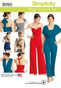 Simplicity Ladies Sewing Pattern 8095 Knit Wrap, Twist & Tie Jumpsuit & Romper
