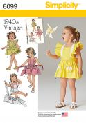 Simplicity Toddlers Sewing Pattern 8099 1940's Vintage Romper & Button On Skirt