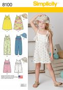 Simplicity Girls Sewing Pattern 8100 Jumpsuit, Romper, Dress & Hat