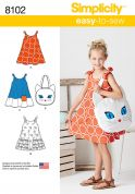 Simplicity Girls Easy Sewing Pattern 8102 Sundress & Kitty Tote Bag