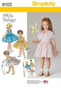 Simplicity Girls Sewing Pattern 8103 1950s Vintage Style Dress & Lined Jacket