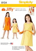 Simplicity Girls Easy Sewing Pattern 8104 Reversible Wrap Dresses