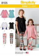 Simplicity Girls Easy Sewing Pattern 8105 Knit Tunic Tops & Leggings