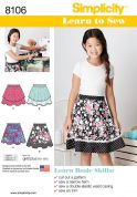Simplicity Girls Easy Sewing Pattern 8106 Learn to Sew Skirts