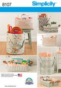 Simplicity Home Easy Sewing Pattern 8107 Bucket, Basket & Tote Organizers