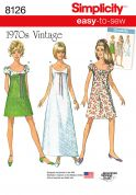 Simplicity Ladies Easy Sewing Pattern 8126 1970's Vintage Style Dresses