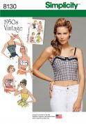 Simplicity Ladies Sewing Pattern 8130 1950s Vintage Style Tops & Cropped Tops