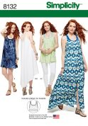 Simplicity Ladies Sewing Pattern 8132 Tank Dress, Tunic Top & Knit Bralette