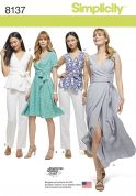 Simplicity Ladies Sewing Pattern 8137 Wrap Dresses, Top & Trousers