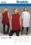Simplicity Ladies Plus Size Sewing Pattern 8140 Shirts with Length & Sleeve Variations