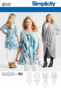 Simplicity Ladies Plus Size Sewing Pattern 8141 Knit Tunics & Mini Dress