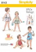 Simplicity Baby Sewing Pattern 8143 Vintage Style Set of One Piece Play Suits