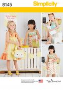 Simplicity Girls Sewing Pattern 8145 Dresses, Top & Novelty Bag